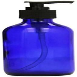 1 X 8 oz Cobalt Blue Glass Lotion / Soap Dispenser with Blac