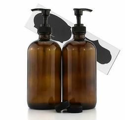 Cornucopia Brands 16-Ounce Amber Glass Bottles w/Pump Dispen