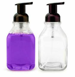 16-Ounce Square Glass Foaming Soap Dispensers (2-Pack, Clear