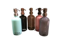 Glass Soap Dispenser 16oz - Black, Gray, Salmon and Seafoam