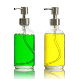 2-Pack 16 oz Glass Bottles with Pump, Clear Glass Soap Dispe