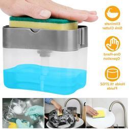 2 in 1 Countertop Liquid Soap Dispenser with Sponge Holder f