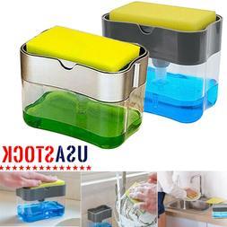 2 in 1 Soap Pump Dispenser & Sponge Holder for Dish Soap and
