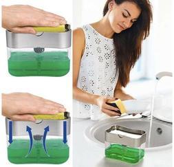 2-in-1 Sponge Rack And Soap Pump Dispenser Sponge Caddy For