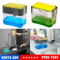 2 in1 Kitchen Liquid Soap Pump Dispenser ABS Sponge Holder P