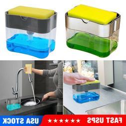 2 in1 Kitchen Liquid Soap Pump Dispenser ABS Sponge Holder P