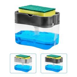 2 in1 Liquid Soap Pump Dispenser ABS Kitchen Sponge Holder P