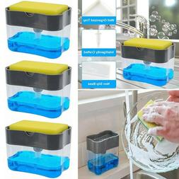 2 in1 Soap Pump Dispenser & Sponge Holder Dish Soap Storage