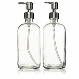 2-Pack 16 oz Glass Bottles with Pump Clear Glass Soap Dispen
