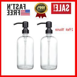 2-Pack Soap Hand Dispenser Glass Bottles Stainless Steel Pum