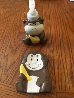 2 Pc Monkey Bathroom Accessories - tray and soap dispenser