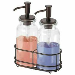 mDesign 2 Soap Dispenser Pumps and Caddy for Kitchen, Bathro