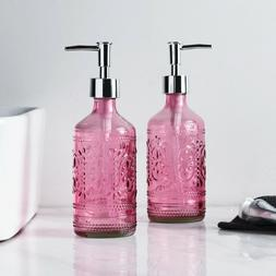 2PC Pink Bathroom Accessories Glass Soap/Lotion Dispenser wi