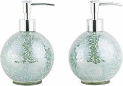 2PC Set Sliver Mosaic Glass Soap/Lotion Dispenser w Pump, Ba
