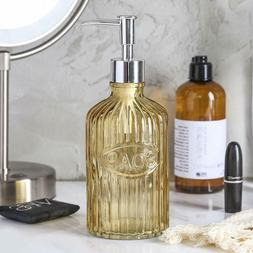 2pc yellow glass soap lotion pump dispenser
