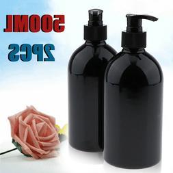 2pcs 500mL Refillable Empty Lotion Pump Bottles Shampoo Soap