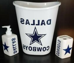 3pc Dallas Cowboys Bathroom Set: Soap Dispenser, Toothbrush