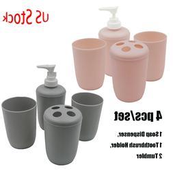 4 Pcs Plastic Bathroom Accessory Set Soap Dispenser Toothbru