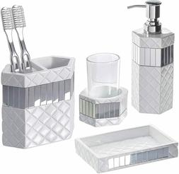 4-Piece Bathroom Accessories Set Soap Dispenser Toothbrush H