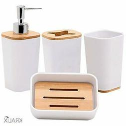 4-Piece Bathroom Accessories Set Soap Dispenser, Dish,Tumble