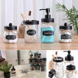 4 Piece Mason Jar Bathroom Accessories Set Toothbrush Holder