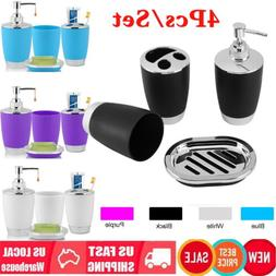 4Pc Bathroom Suit Accessories Includes Cup Toothbrush Holder