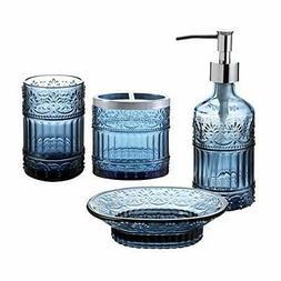 4pc blue clear class bathroom accessory accessories