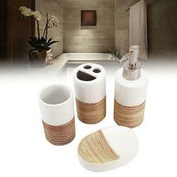 4pcs Ceramic Liquid Soap Dispenser Bathroom Set Soap Dish To