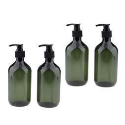 4x Refillable 500ml Pump Bottles PET Shampoo Soap Dispensing