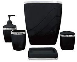 5-Piece Plastic Bath Accessory Set, Black for Bathroom Acces