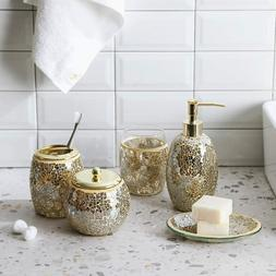 5PC Gold Mosaic Glass Bathroom Accessory/Accessories Set w D