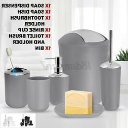 6Pcs Bath Bathroom Accessories Set Soap Dispenser Toothbrush
