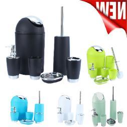 6Pcs Bathroom Accessory Bin Soap Dish Dispenser Tumbler Toot