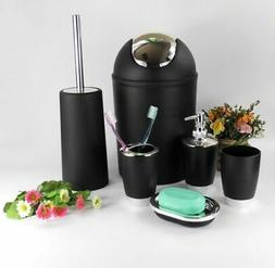 6Pcs Bathroom Accessory Set Bin Soap Dish Dispenser Tumbler