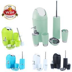 6Pcs Bathroom Accessory Set Bin Soap Dish Tumbler Toothbrush
