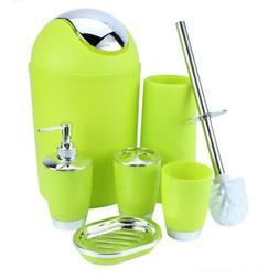 6PCS Plastic Bathroom Accessories Set Soap Dispenser Toothbr