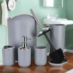 6PCS Plastic Bathroom Accessories Set Soap Dispenser Toothbr