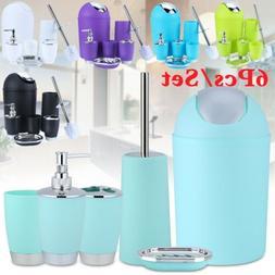 6PCS/Set Bathroom Accessories Bin Toothbrush Tumbler Holder