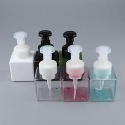 6Pcs Square PET Foaming Soap Pump Bottle Refillable Dispense