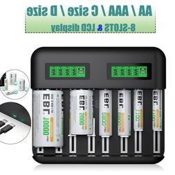 8Slot LCD Smart Rechargeable C D Size Battery Charger for AA