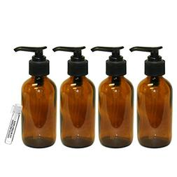 Perfume Studio 4oz Amber Glass Pump Bottles - Set of 4 Amber