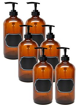 Firefly Craft 6 Pack Amber Glass Bottles with Pump and Chalk