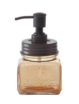 Creative Co-op DA0557 Vintage Amber Glass with Rubbed Bronze