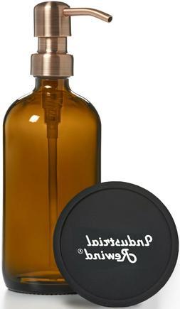 Amber 8oz Glass Soap Dispenser with Copper Soap Pump - Soap