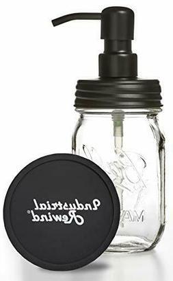 Ball Jar Soap Dispenser with Metal Black Pump and Black Lid