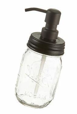 Industrial Rewind Ball Jar Soap Dispenser with Metal Black P