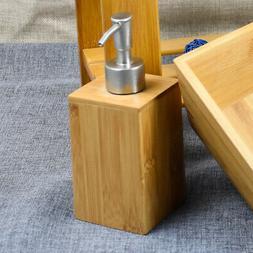 Bamboo Accessories Sanitizer Storage Squeeze Press Soap Disp