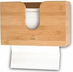 Bamboo Paper Towel Dispenser Wall Mount Wood Holder For Offi