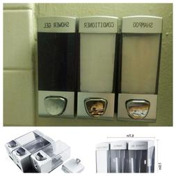 Bar Soap Holder Dispenser Wall Mount 3-chamber Shampoo Showe