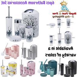 6 Pcs Bathroom Accessories Complete Set Bin Soap Dispenser T